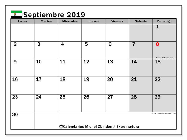 Calendario septiembre 2019, con días feriados en Extremadura. Calendario vacaciones y festivos para imprimir gratis.