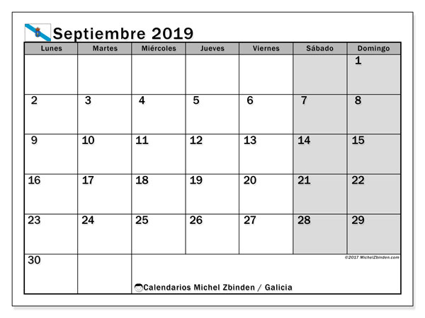 Calendario septiembre 2019, con días feriados en Galicia. Calendario para imprimir gratis con días festivos.