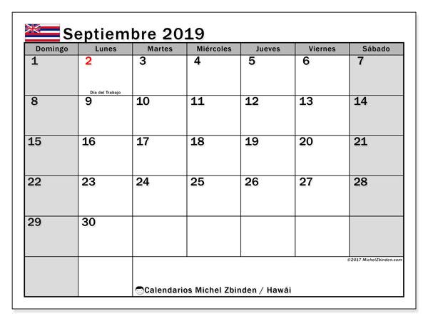 Calendario septiembre 2019, con días feriados en Hawái. Calendario para imprimir gratis con días festivos.
