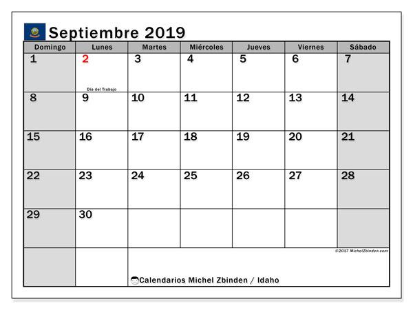 Calendario septiembre 2019, con días feriados de Idaho. Calendario vacaciones y festivos para imprimir gratis.