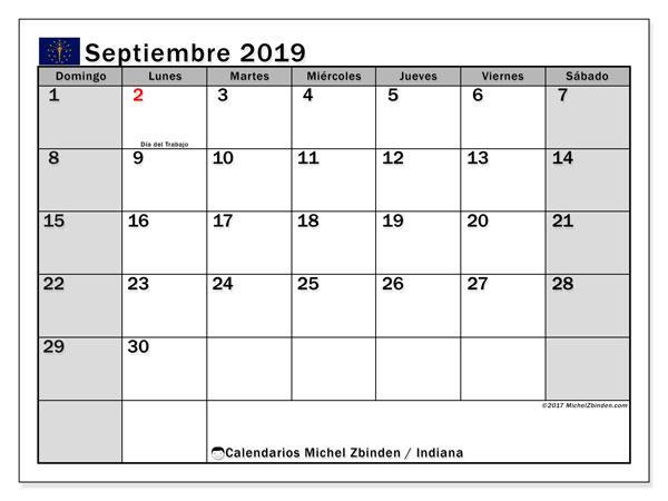 Calendario septiembre 2019, con días feriados de Indiana. Calendario para imprimir gratis con días festivos.