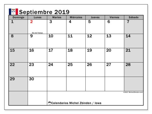 Calendario septiembre 2019, con días feriados en Iowa. Calendario vacaciones y festivos para imprimir gratis.