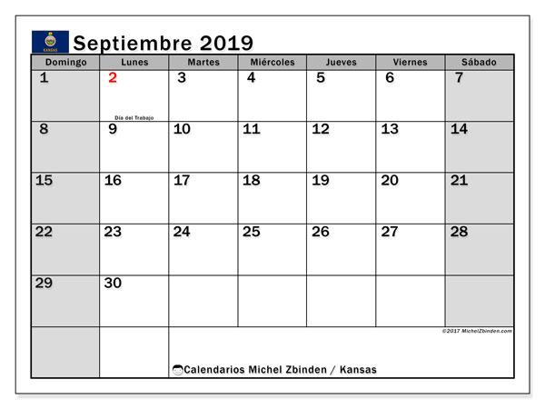 Calendario septiembre 2019, con días feriados en Kansas. Calendario vacaciones y festivos para imprimir gratis.