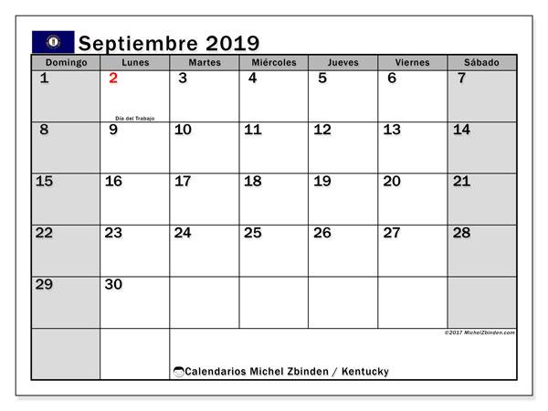 Calendario septiembre 2019, con días feriados en Kentucky. Calendario vacaciones y festivos para imprimir gratis.