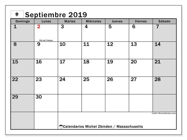 Calendario septiembre 2019, con días feriados de Massachusetts. Calendario vacaciones y festivos para imprimir gratis.