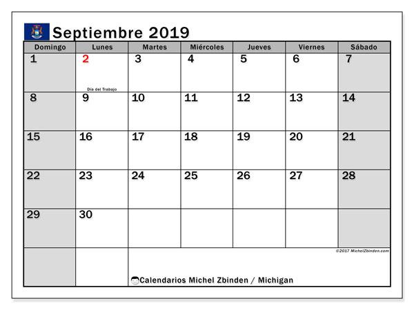 Calendario septiembre 2019, con días feriados en Míchigan. Calendario para imprimir gratis con días festivos.