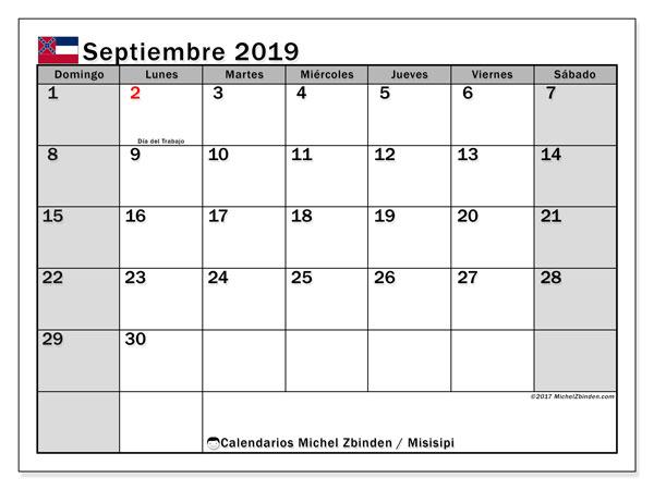 Calendario septiembre 2019, con días feriados en Misisipi. Calendario vacaciones y festivos para imprimir gratis.