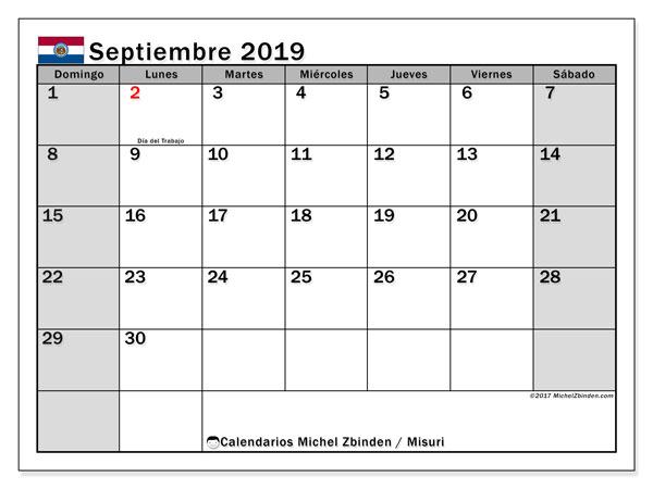 Calendario septiembre 2019, con días feriados en Misuri. Calendario para imprimir gratis con días festivos.