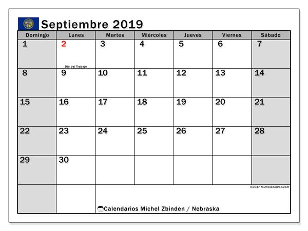 Calendario septiembre 2019, con días feriados de Nebraska. Calendario para imprimir gratis con días festivos.