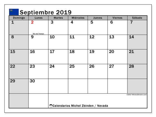 Calendario septiembre 2019, con días feriados de Nevada. Calendario para imprimir gratis con días festivos.