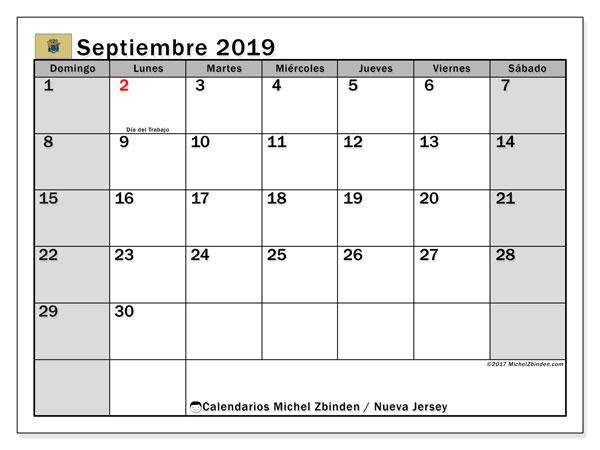 Calendario septiembre 2019, con días feriados en Nueva Jersey. Calendario para imprimir gratis con días festivos.
