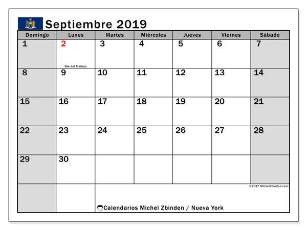 Calendario septiembre 2019, con días feriados en Nueva York. Calendario para imprimir gratis con días festivos.