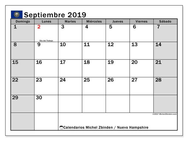 Calendario septiembre 2019, con días feriados en Nuevo Hampshire. Calendario vacaciones y festivos para imprimir gratis.