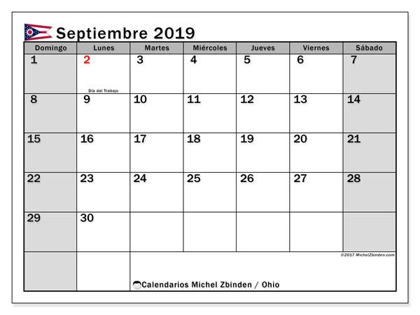 Calendario septiembre 2019, con días feriados de Ohio. Calendario para imprimir gratis con días festivos.