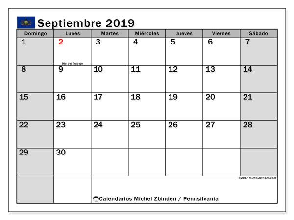 Calendario septiembre 2019, con días feriados en Pennsilvania. Calendario para imprimir gratis con días festivos.