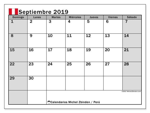 Calendario septiembre 2019, con los días feriados para Perú. Calendario mensual para imprimir gratis.