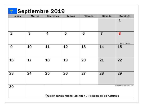 Calendario septiembre 2019, con días feriados del Principado de Asturias. Calendario para imprimir gratis con días festivos.