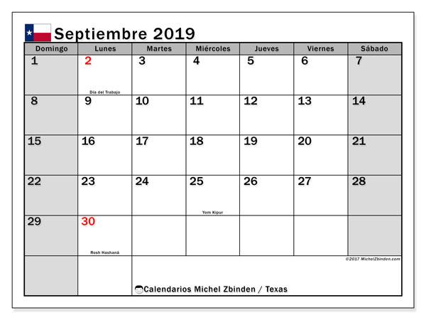 Calendario septiembre 2019, con días feriados en Texas. Calendario para imprimir gratis con días festivos.