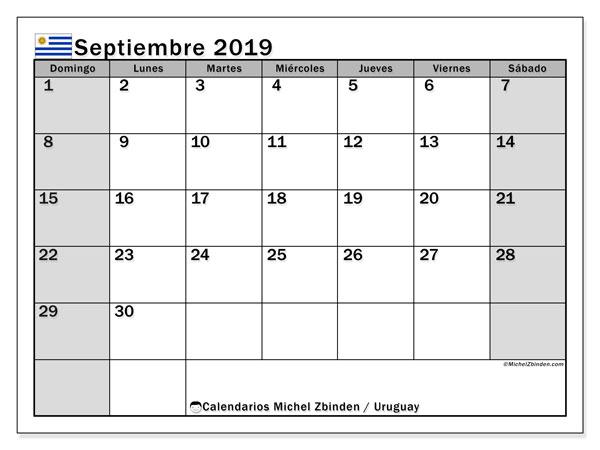 Calendario septiembre 2019, con días feriados de Uruguay. Calendario vacaciones y festivos para imprimir gratis.