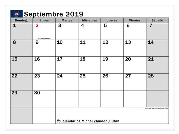 Calendario septiembre 2019, con días feriados de Utah. Calendario vacaciones y festivos para imprimir gratis.
