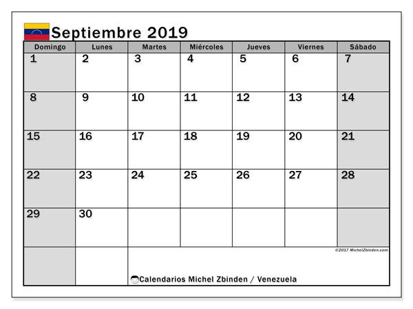 Calendario septiembre 2019, con días feriados en Venezuela. Calendario para imprimir gratis con días festivos.
