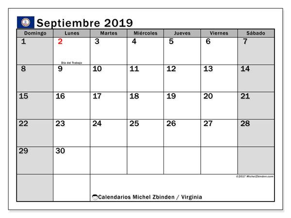 Calendario septiembre 2019, con días feriados de Virginia. Calendario vacaciones y festivos para imprimir gratis.