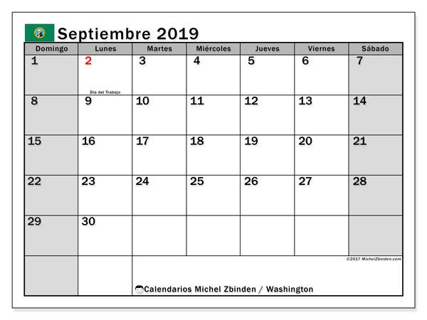 Calendario septiembre 2019, con días feriados en Washington. Calendario vacaciones y festivos para imprimir gratis.