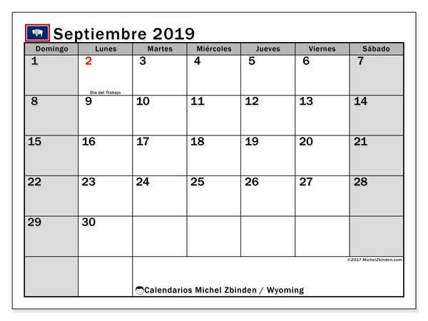 Calendario septiembre 2019, con días feriados en Wyoming. Calendario vacaciones y festivos para imprimir gratis.