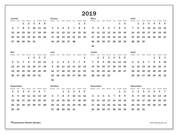 Calendrier 2019 (32DS)