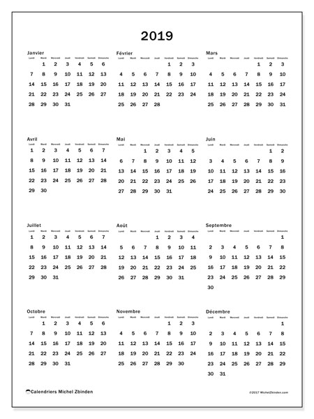 Calendrier 2019 (33LD)
