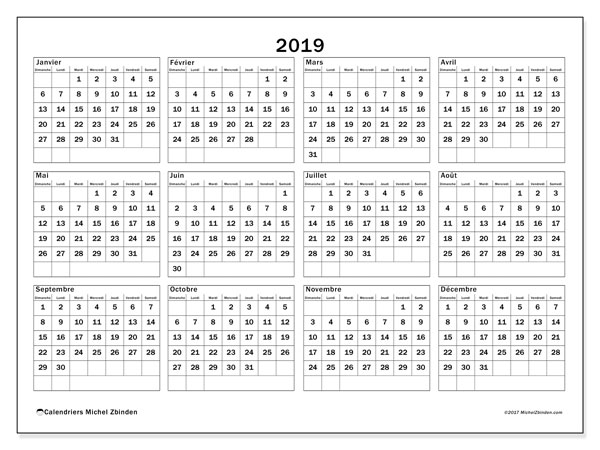 Calendrier 2019 (34DS)
