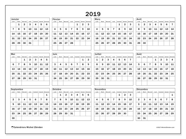 Calendriers annuels 2019 (LD).  34LD.