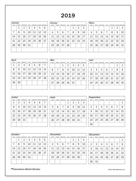 Calendrier 2019 (36LD)