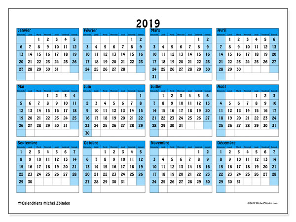 Calendrier 2019 (39DS)