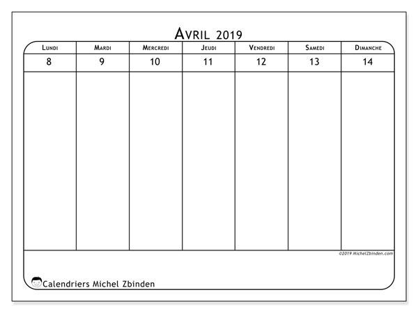 Calendrier 2019, 43-15LD. Planificateur à imprimer gratuit.
