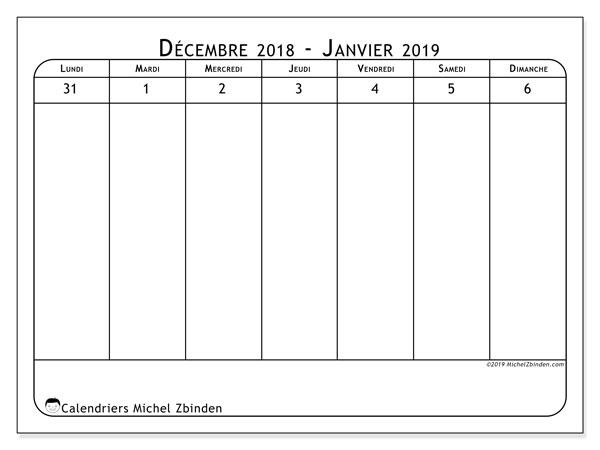 Calendrier 2019, 43-1LD. Calendrier pour la semaine à imprimer gratuit.