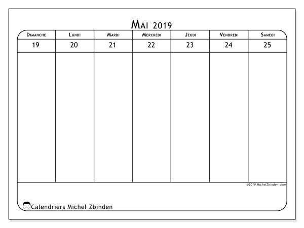 Calendrier 2019, 43-21DS. Calendrier à imprimer gratuit.