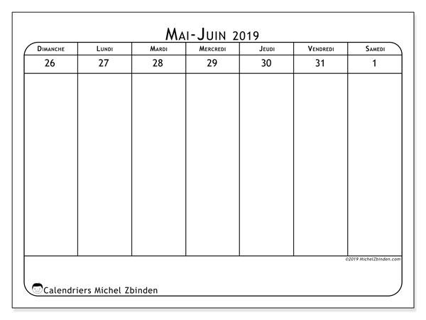 Calendrier 2019, 43-22DS. Calendrier imprimable gratuit.