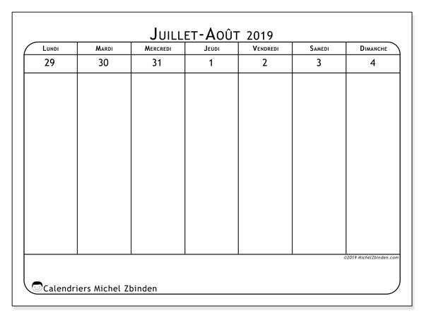 Calendrier 2019, 43-31LD. Semainier à imprimer gratuit.