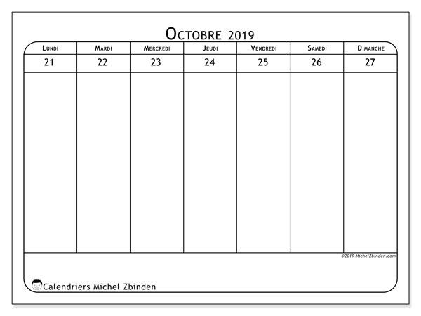 Calendrier 2019, 43-43LD. Semainier à imprimer gratuit.