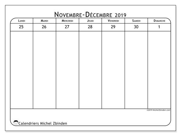 Calendrier 2019, 43-48LD. Organisateur à imprimer gratuit.
