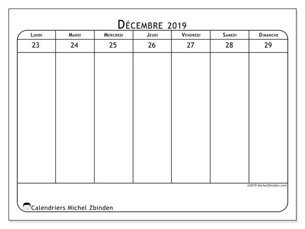 Calendrier 2019, 43-52LD. Semainier à imprimer gratuit.
