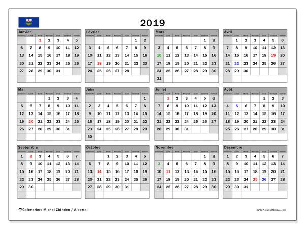Calendrier 2019, avec les jours fériés de l'Alberta. Calendrier mensuel à imprimer gratuit.
