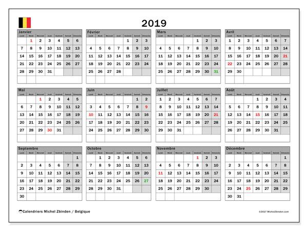 Calendrier 2019, avec les jours fériés de la Belgique. Calendrier gratuit à imprimer.