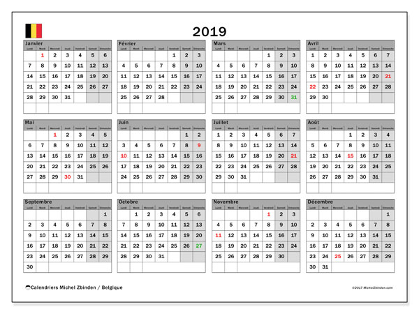 Calendrier  2019, Belgique