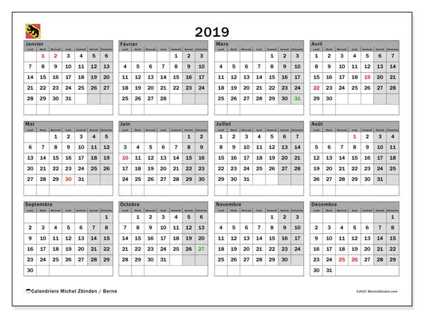Calendrier 2019, avec les jours fériés du Canton de Berne. Calendrier à imprimer gratuit.