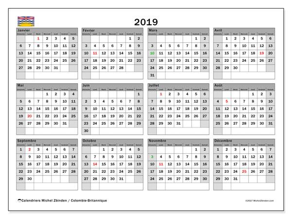 Calendrier 2019, avec les jours fériés de la Colombie-Britannique. Calendrier pour le mois à imprimer gratuit.