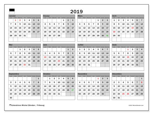 Calendrier 2019, avec les jours fériés du Canton de Fribourg. Calendrier mensuel à imprimer gratuit.