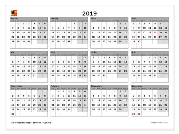 Calendrier 2019, avec les jours fériés du Canton de Genève. Organisateur à imprimer gratuit.