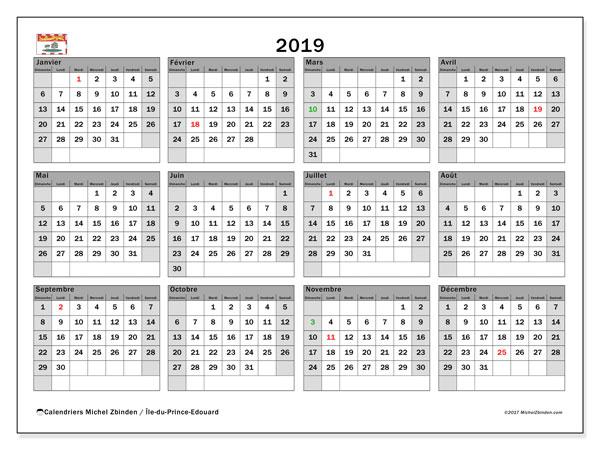 Calendrier 2019, avec les jours fériés de l'Île-du-Prince-Edouard. Calendrier imprimable gratuit.